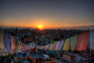 Bwong: flags at sunrise