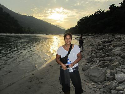 Bikash: Anita, sunset, river.