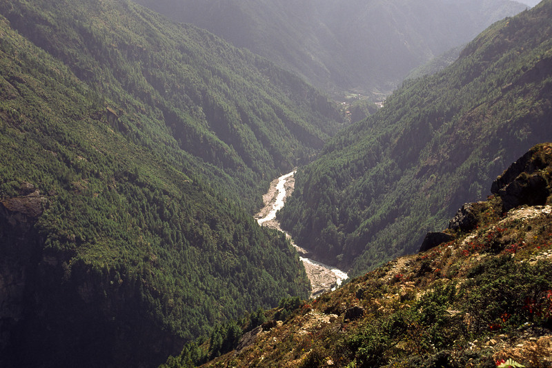 View from Namche to the south and Dudh kosi.