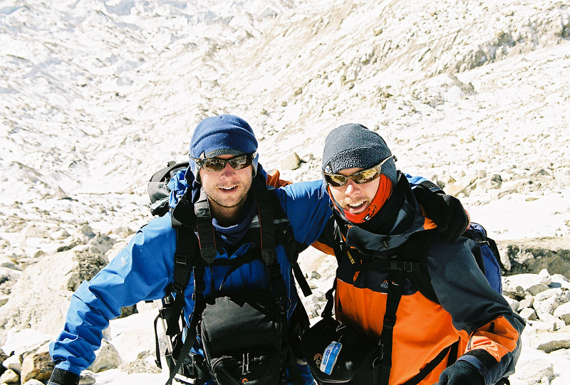 My brother Mike (in blue) and I above Khumbu Glacier