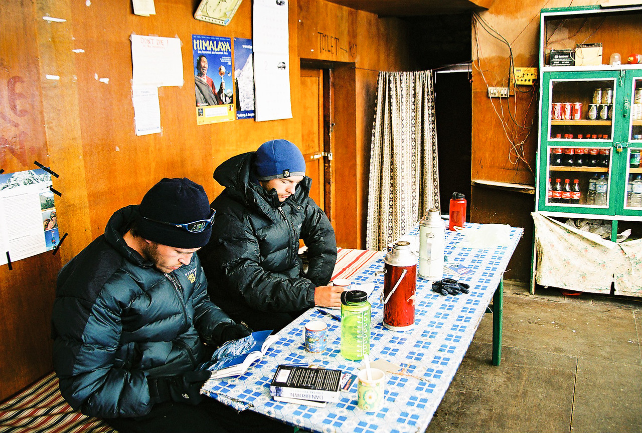 Trying to keep warm in Lobuche
