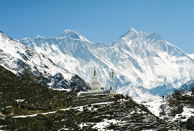 Stupa between Namche Bazar and Kyungjuma, Mt Everest left of centre