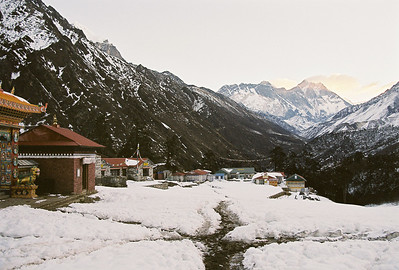 Dawn at Tengboche with view of Mt Everest (8850m, left) and Lhotse (8414m, right)