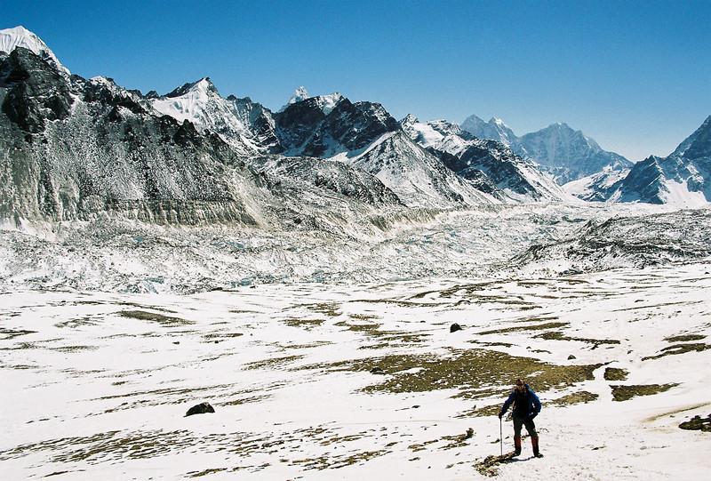 Mike ascending Kala Patthar, Khumbu Glacia behind