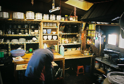 The kitchen of Himalayan View Lodge, Tengboche