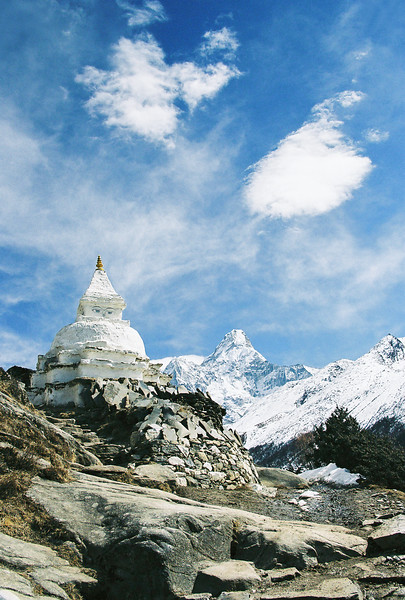 Stupa and Ama Dablam (6856m) viewed from south of Pangboche