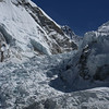 Close up of the Ice Fall with part of the Everest South Col visible. The South Col is the starting point for the Everest assault.