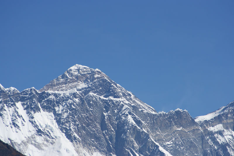 Everest with the Nuptse Wall in front.