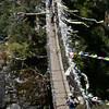Swing bridge with prayer flags.