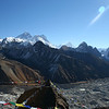 Looking across from Gokyo Ri towards Everest - the Ngozumpa Glacier is in the foreground.