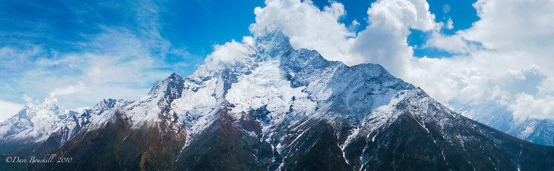 A Panoramic View of the Himalayan Range in Nepal