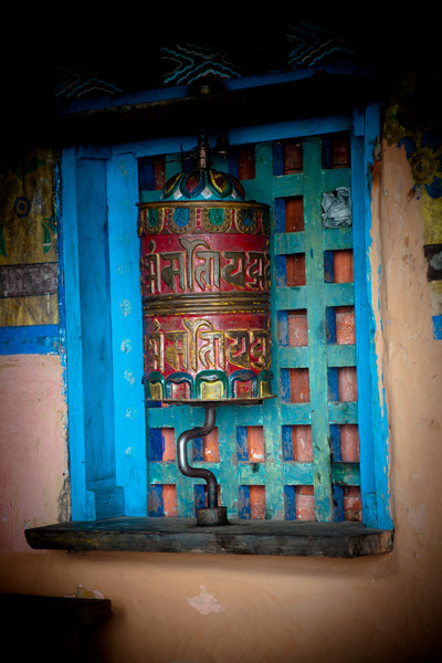 prayer wheel at a monastery along the trail