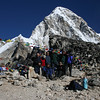 The group with Pumori in the background. People are looking away because just as the photo was taken a wind gust blew up a swirl of dust - bad timing; I'd have asked for it to be done again but Supreet (the trek leader) had nine cameras lined up.