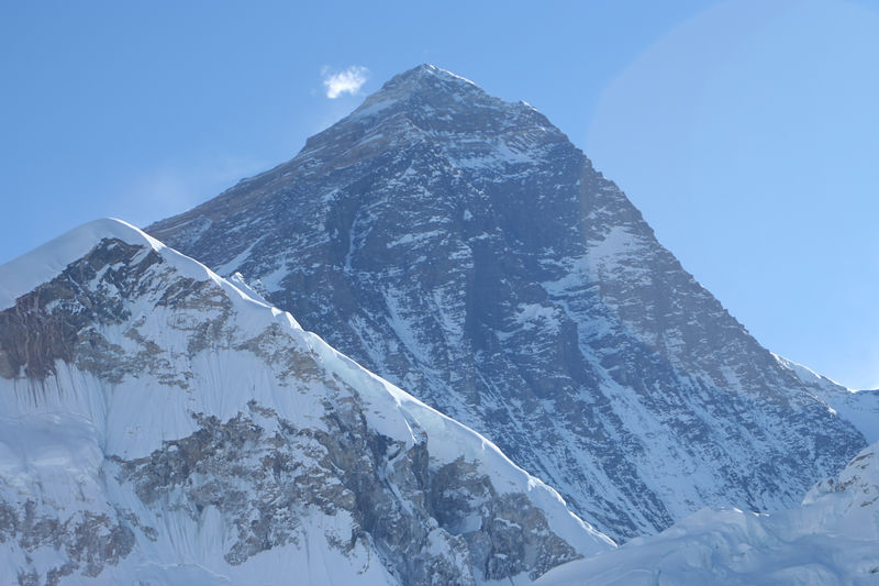 Everest (8,846 metres)with the Hillary Step fairly obvious just below the summit.