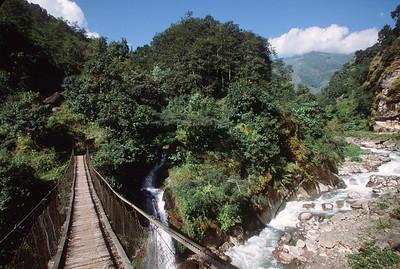 Suspension bridge over a tributary of Kabeli Khola
