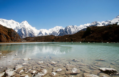 Yalung Glacier moraine, lake at Lapsang.  Peaks of Rathong and Kabru in distance.