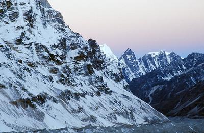 Morning light on Kangchenjunga Glacier from base camp