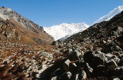 Yalung Glacier moraine with Kangchenjunga in distance