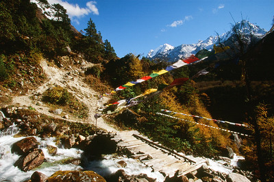 Wooden bridge with prayer flags in the Ghunsa Khola valley