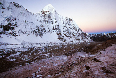 Kangchenjunga Glacier with morning light from base camp
