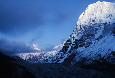 Twilight on peaks above Kangchenjunga Glacier at Lhonak