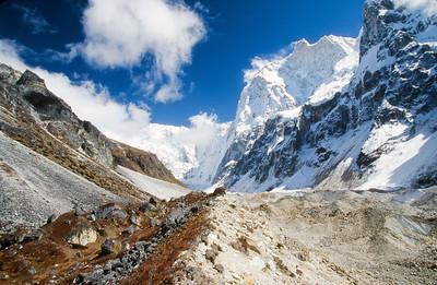 Jannu Base Camp.  Kumbhakarna (Jannu) Glacier and peak