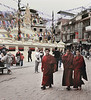 Monks, Walking, Boudhanath Temple, Kathmandu, Nepal (Bronica 645)