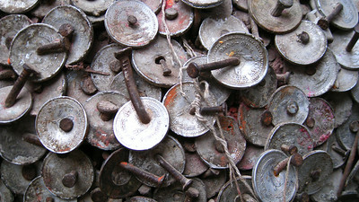 Coins nailed to the shrine of the tooth god (lot's of dentists in the area...) — Kathmandu, Nepal