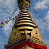 "The huge stupa at Swayambhunath is the icon of Kathmandu.  Swayambhu = ""self arisen"" because the stupa supposedly arose spontaneously from a primordial lake; ""nath"" = suffix indicating respect for a religious object or person.  Written records mentioning the stupa go back to the 4th century CE."