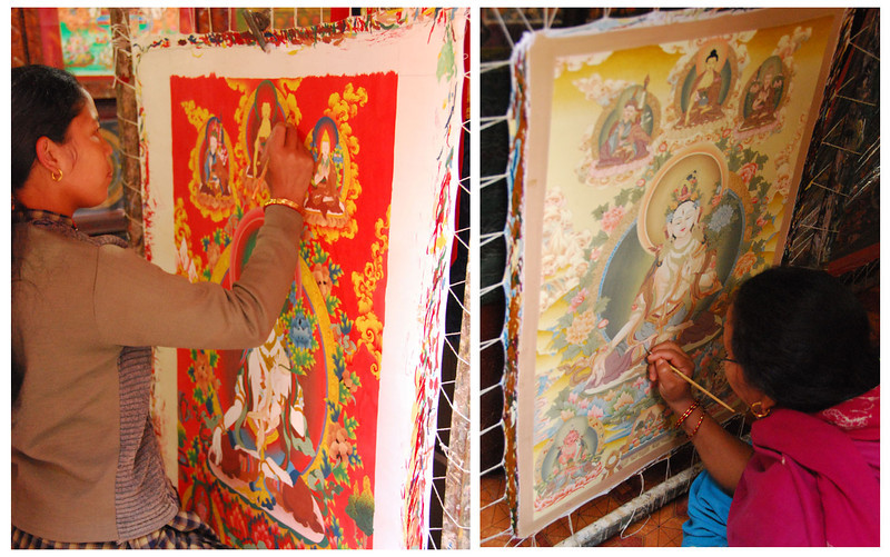 Many Tibetan refugees in Nepal make a living painting thankas.  The finest detail on high-quality tankas is done with a brush with a single yak hair.  One of the thankas I bought took a master painter (Kopheng Lama) with 32 years experience 42 days to paint.  I paid only $500, so he gets only a few dollars a day for incredibly skilled work.