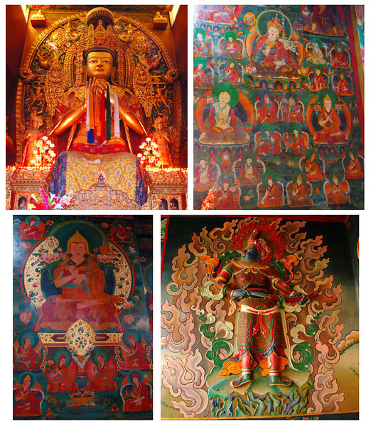 Art in Buddhist temples is elaborate and colorful.  This is the interior of a temple in Bodhnath.