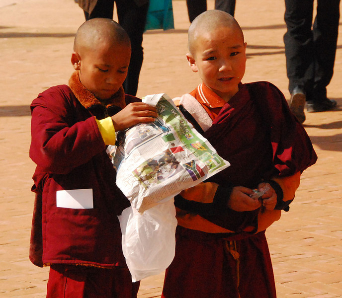 These are young Tibetans on the street near Bodhnath.