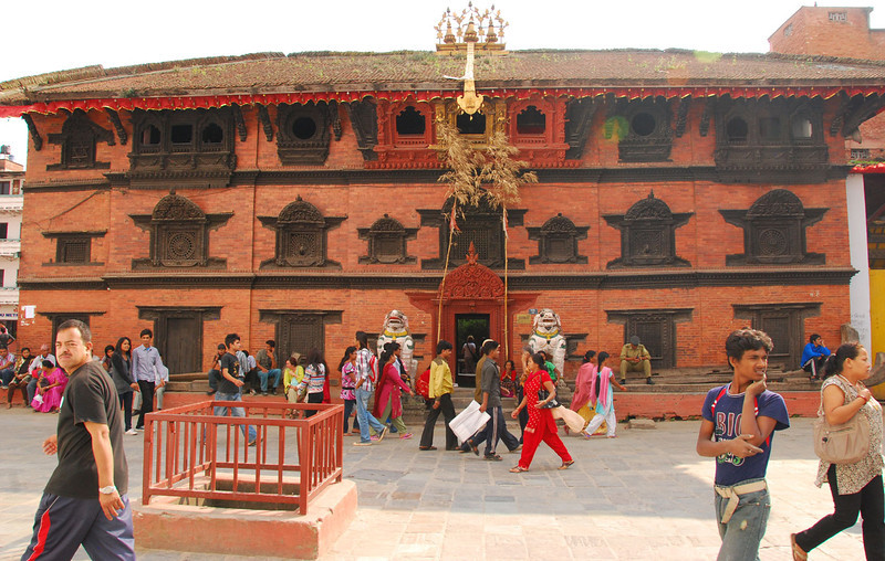 This classical building is the home of Kumari, a living Hindu goddess.  Except for public appearances at religious festivals, she lives in seclusion here. When each goddess reaches puberty, she gets replaced by a new one about 5 years old.