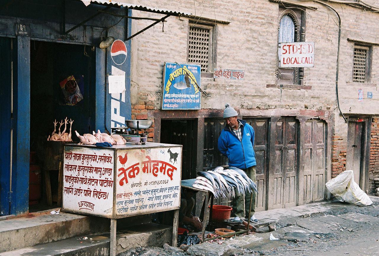 Local butcher in Thamel, Katmandu