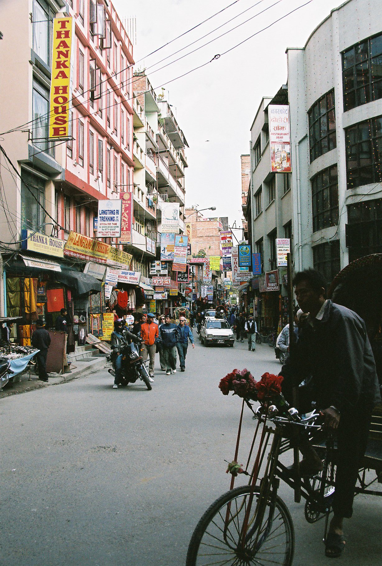 The busy streets of Thamel outside the Kathmandu Guest House