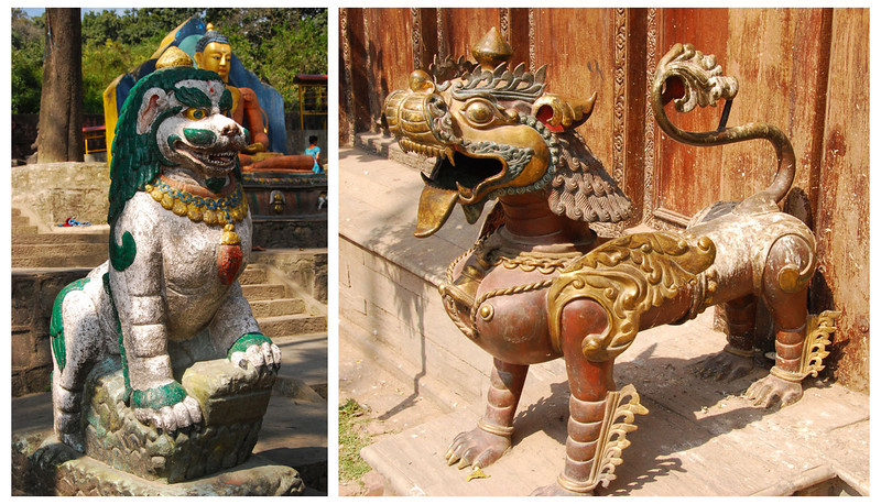 There are plenty of lions guarding the doorways of buildings and temples.