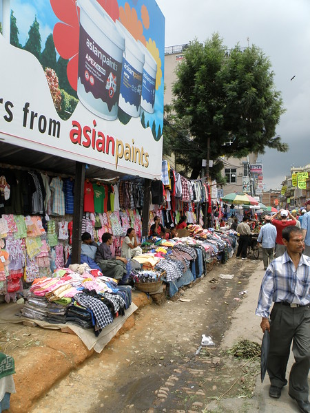 Clothing sales along the street