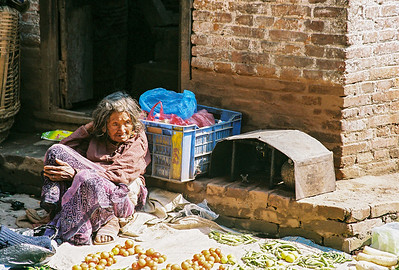 Fruit and vege seller in Thamel, Kathmandu