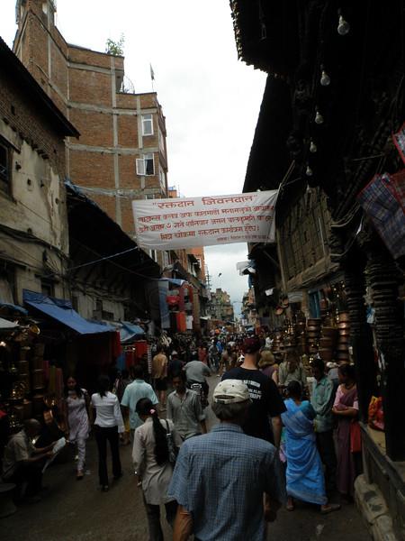 Crowded side street near the markets