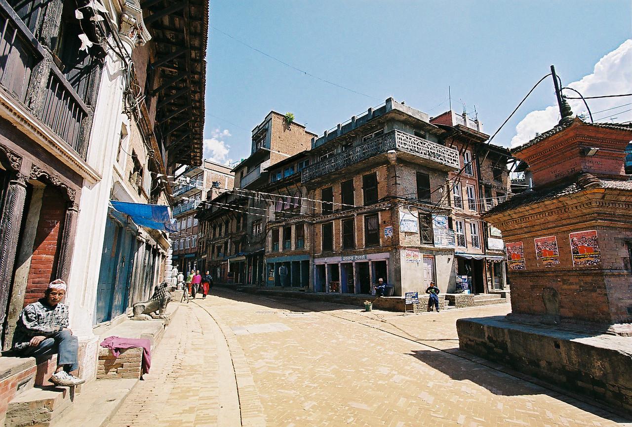 The car-free streets of Bhaktapur