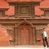 Classical architecture in the Kathmandu valley is brick with elaborately carved wooded doors and windows.