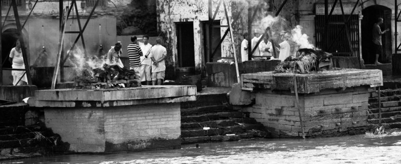 Cremations on Bagmati riverbank