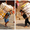 Even in those areas of Kathmandu that have paved streets much of the routine freight is carried by porters.  Humans are a lot cheaper than trucks.