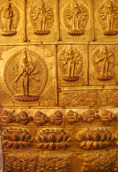 Like churches of all denominations, Hindu temples are often festooned with gold artwork.