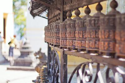"""Prayer wheels — Swayambhunath Stupa. (aka, """"Monkey Temple""""), Kathmandu, Nepal"""