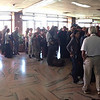 waiting in line at the Kathmandu airport for Visa