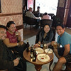 Beer at Nanglo, durbar marg, Nepal.  suraj, julie, charness and sherwin: beer and momo best combo