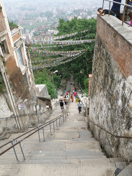 Stairs and prayer flags