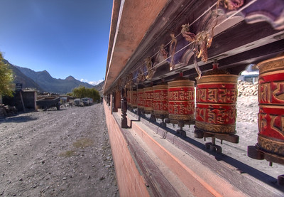 Prayer wheels in Marpha, Nepal