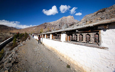 Prayer wheels—Chumig Gyatsa Temple, Muktinath, Nepal.